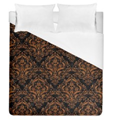 Damask1 Black Marble & Rusted Metal (r) Duvet Cover (queen Size) by trendistuff