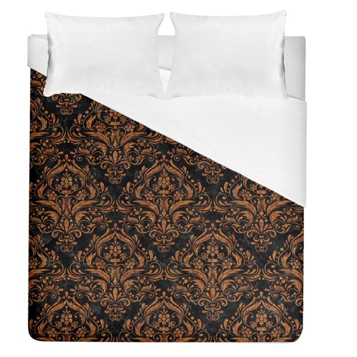 DAMASK1 BLACK MARBLE & RUSTED METAL (R) Duvet Cover (Queen Size)