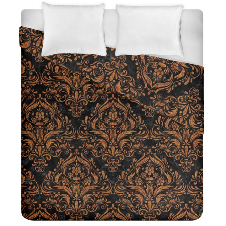 DAMASK1 BLACK MARBLE & RUSTED METAL (R) Duvet Cover Double Side (California King Size)
