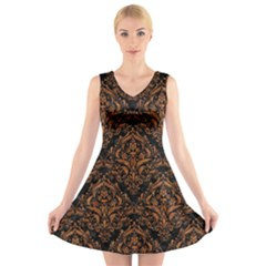 Damask1 Black Marble & Rusted Metal (r) V Neck Sleeveless Skater Dress