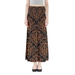 Damask1 Black Marble & Rusted Metal (r) Full Length Maxi Skirt