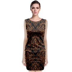 Damask1 Black Marble & Rusted Metal (r) Classic Sleeveless Midi Dress