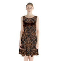 Damask1 Black Marble & Rusted Metal (r) Sleeveless Waist Tie Chiffon Dress