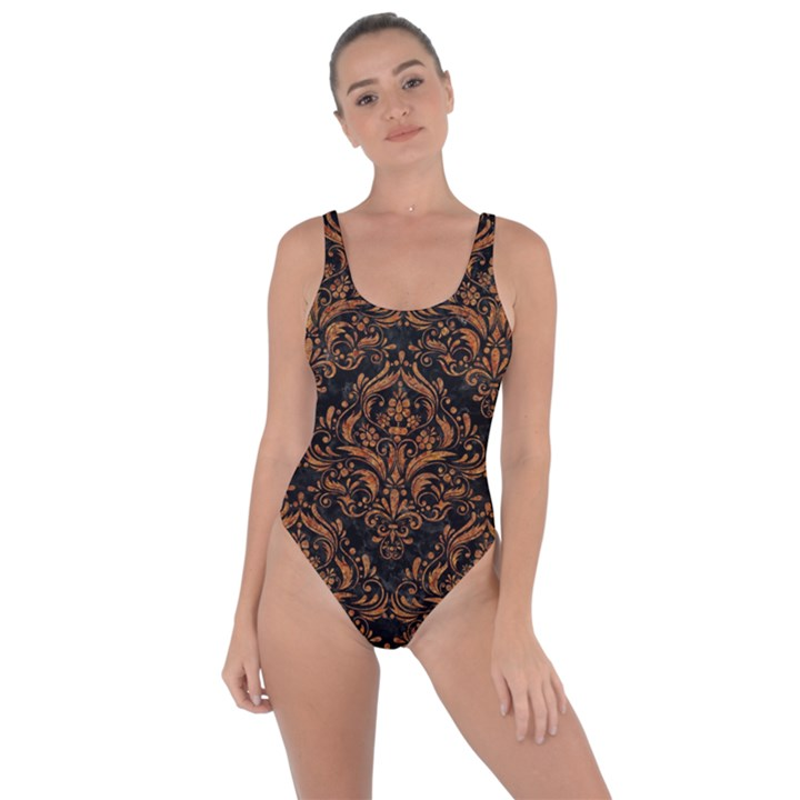 DAMASK1 BLACK MARBLE & RUSTED METAL (R) Bring Sexy Back Swimsuit