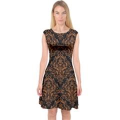 Damask1 Black Marble & Rusted Metal (r) Capsleeve Midi Dress