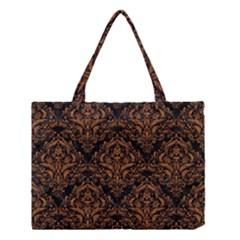 Damask1 Black Marble & Rusted Metal (r) Medium Tote Bag by trendistuff