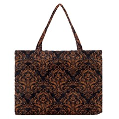 Damask1 Black Marble & Rusted Metal (r) Zipper Medium Tote Bag by trendistuff