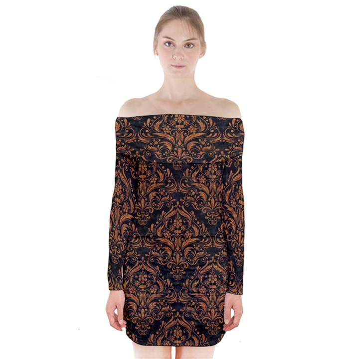 DAMASK1 BLACK MARBLE & RUSTED METAL (R) Long Sleeve Off Shoulder Dress