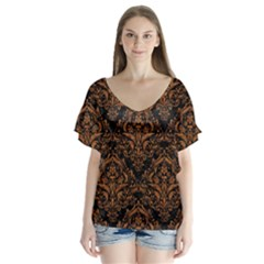 Damask1 Black Marble & Rusted Metal (r) V Neck Flutter Sleeve Top