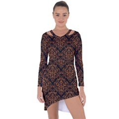 Damask1 Black Marble & Rusted Metal (r) Asymmetric Cut Out Shift Dress