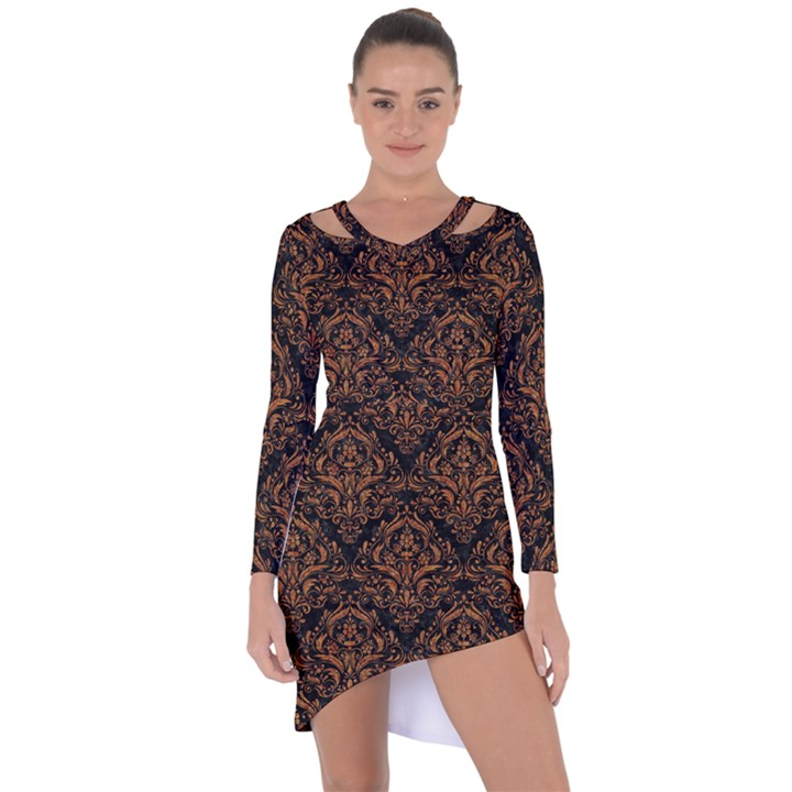 DAMASK1 BLACK MARBLE & RUSTED METAL (R) Asymmetric Cut-Out Shift Dress