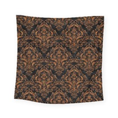 Damask1 Black Marble & Rusted Metal (r) Square Tapestry (small)