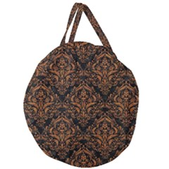 Damask1 Black Marble & Rusted Metal (r) Giant Round Zipper Tote by trendistuff