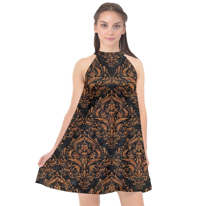 DAMASK1 BLACK MARBLE & RUSTED METAL (R) Halter Neckline Chiffon Dress