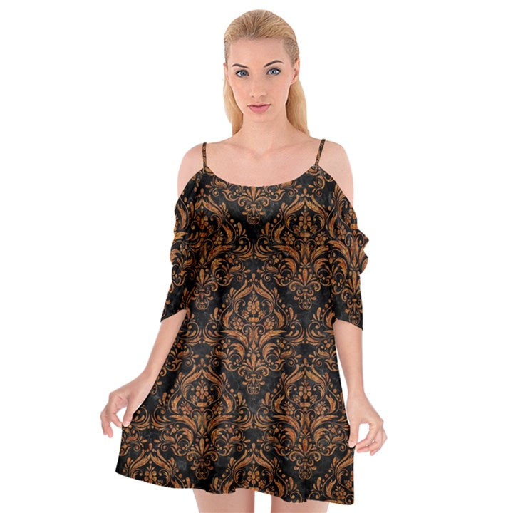 DAMASK1 BLACK MARBLE & RUSTED METAL (R) Cutout Spaghetti Strap Chiffon Dress