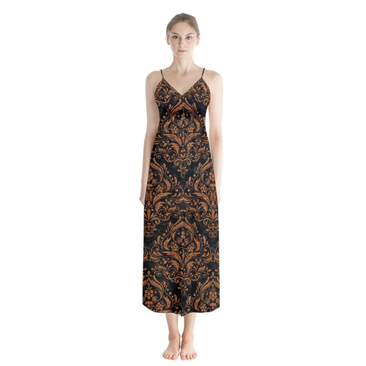 DAMASK1 BLACK MARBLE & RUSTED METAL (R) Button Up Chiffon Maxi Dress