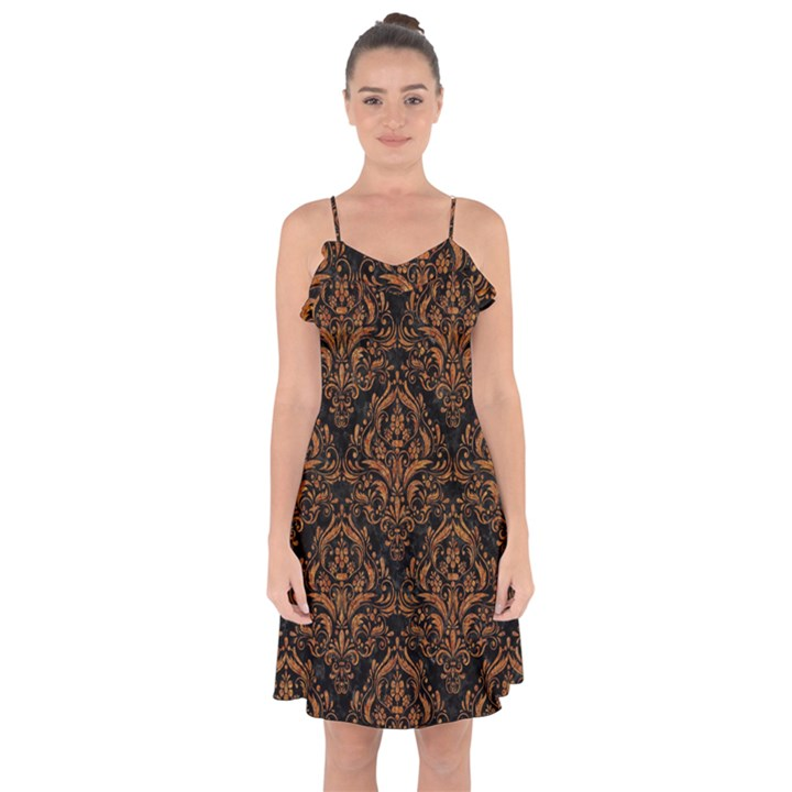 DAMASK1 BLACK MARBLE & RUSTED METAL (R) Ruffle Detail Chiffon Dress