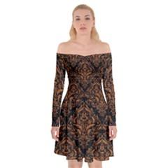 Damask1 Black Marble & Rusted Metal (r) Off Shoulder Skater Dress