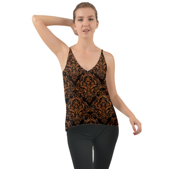 DAMASK1 BLACK MARBLE & RUSTED METAL (R) Cami