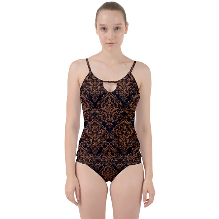 DAMASK1 BLACK MARBLE & RUSTED METAL (R) Cut Out Top Tankini Set
