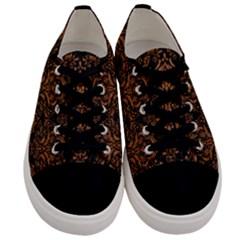 Damask1 Black Marble & Rusted Metal (r) Men s Low Top Canvas Sneakers