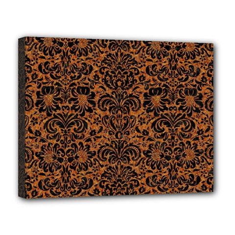 Damask2 Black Marble & Rusted Metal Canvas 14  X 11  by trendistuff