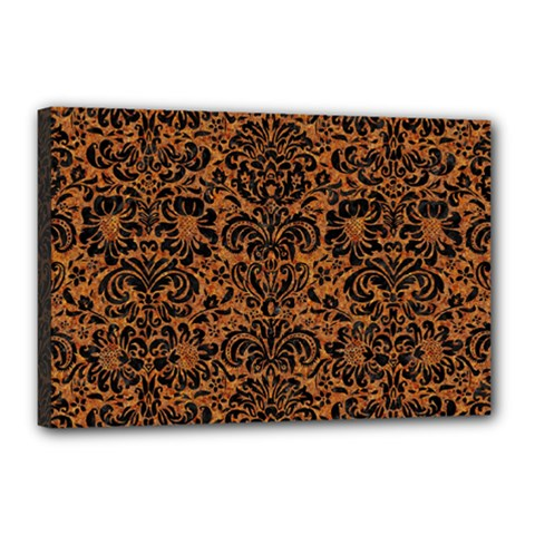 Damask2 Black Marble & Rusted Metal Canvas 18  X 12  by trendistuff
