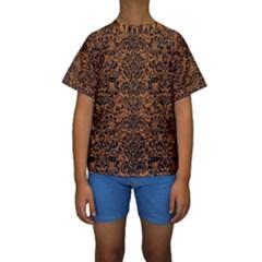 DAMASK2 BLACK MARBLE & RUSTED METAL Kids  Short Sleeve Swimwear