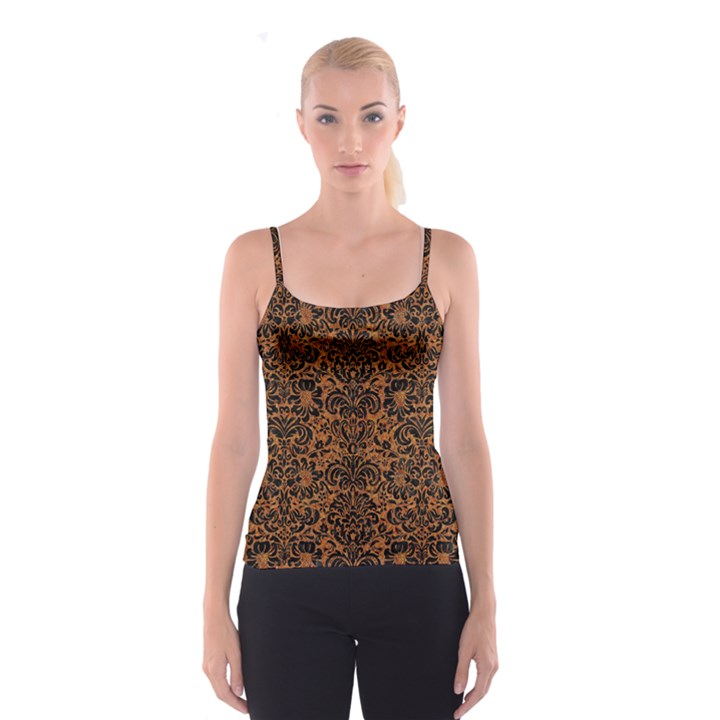 DAMASK2 BLACK MARBLE & RUSTED METAL Spaghetti Strap Top