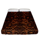 DAMASK2 BLACK MARBLE & RUSTED METAL Fitted Sheet (California King Size) View1