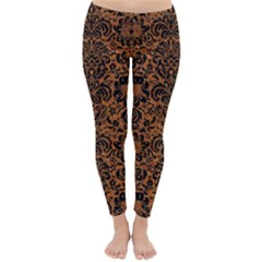 Damask2 Black Marble & Rusted Metal Classic Winter Leggings