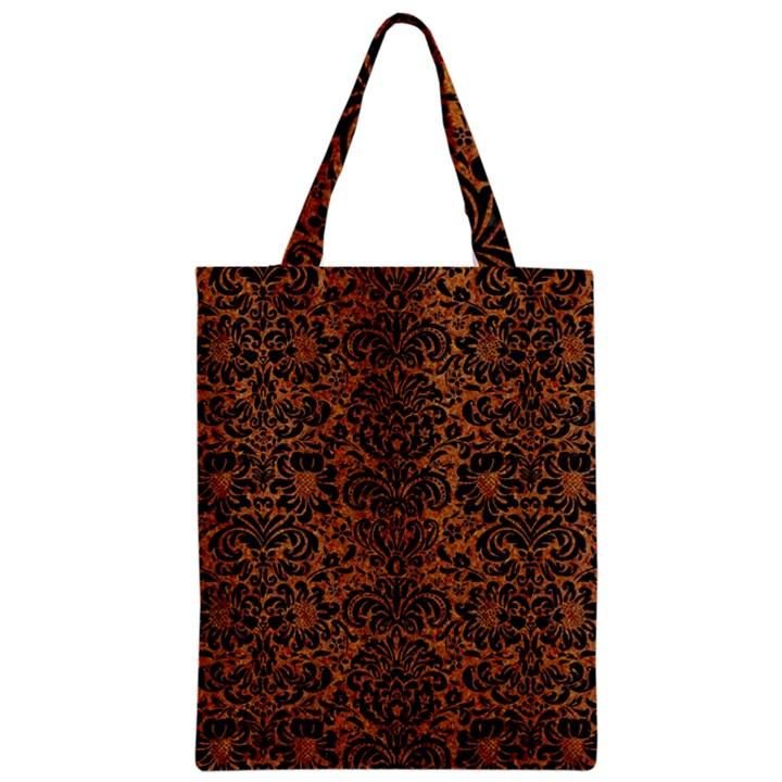 DAMASK2 BLACK MARBLE & RUSTED METAL Zipper Classic Tote Bag