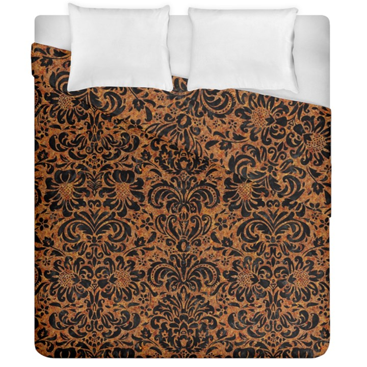DAMASK2 BLACK MARBLE & RUSTED METAL Duvet Cover Double Side (California King Size)