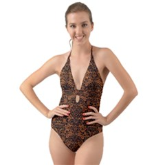 Damask2 Black Marble & Rusted Metal Halter Cut Out One Piece Swimsuit