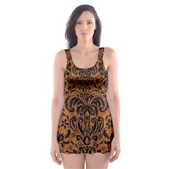 Damask2 Black Marble & Rusted Metal Skater Dress Swimsuit
