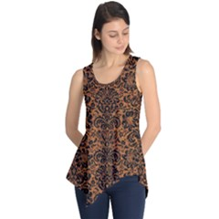 Damask2 Black Marble & Rusted Metal Sleeveless Tunic