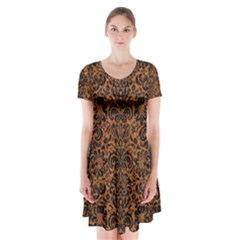 Damask2 Black Marble & Rusted Metal Short Sleeve V Neck Flare Dress