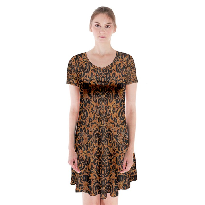 DAMASK2 BLACK MARBLE & RUSTED METAL Short Sleeve V-neck Flare Dress
