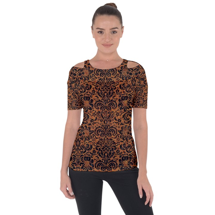 DAMASK2 BLACK MARBLE & RUSTED METAL Short Sleeve Top