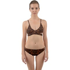 Damask2 Black Marble & Rusted Metal Wrap Around Bikini Set