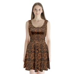 DAMASK2 BLACK MARBLE & RUSTED METAL Split Back Mini Dress