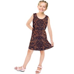 Damask2 Black Marble & Rusted Metal Kids  Tunic Dress