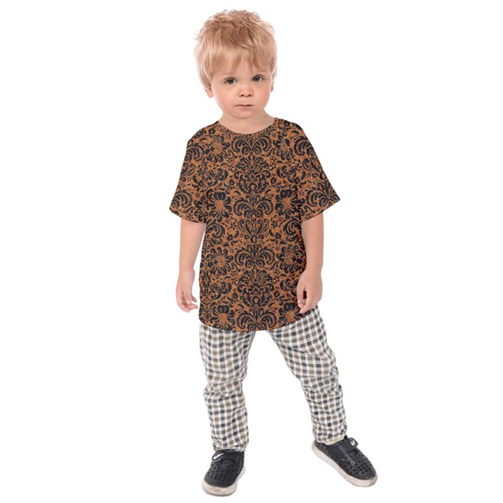 DAMASK2 BLACK MARBLE & RUSTED METAL Kids Raglan Tee