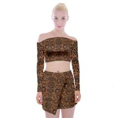 Damask2 Black Marble & Rusted Metal Off Shoulder Top With Mini Skirt Set