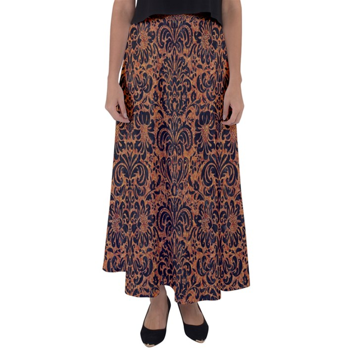 DAMASK2 BLACK MARBLE & RUSTED METAL Flared Maxi Skirt