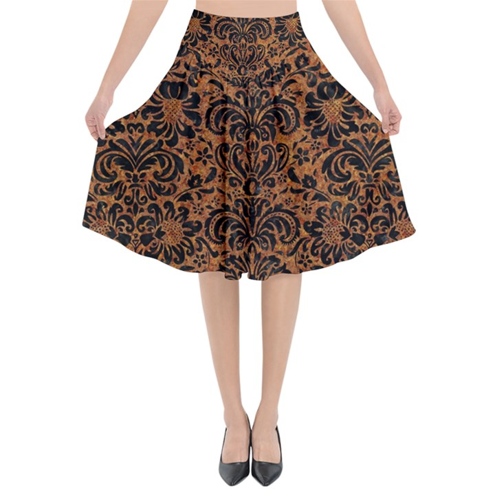 DAMASK2 BLACK MARBLE & RUSTED METAL Flared Midi Skirt