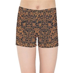 Damask2 Black Marble & Rusted Metal Kids Sports Shorts