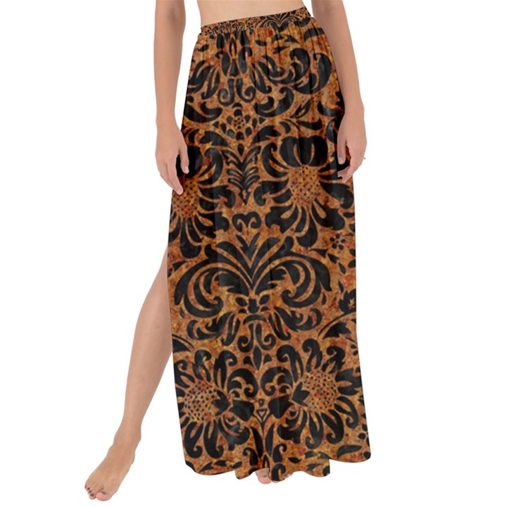 DAMASK2 BLACK MARBLE & RUSTED METAL Maxi Chiffon Tie-Up Sarong
