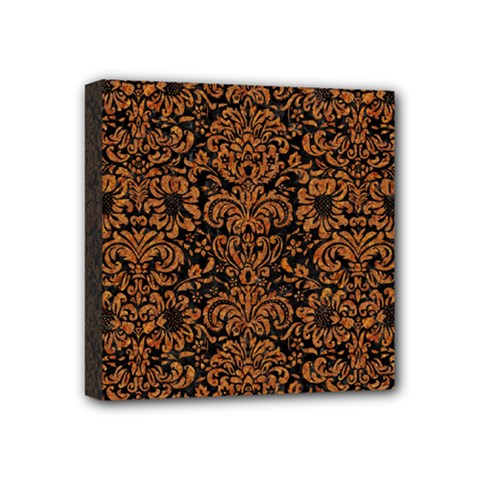 Damask2 Black Marble & Rusted Metal (r) Mini Canvas 4  X 4  by trendistuff