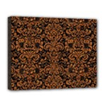 DAMASK2 BLACK MARBLE & RUSTED METAL (R) Canvas 14  x 11